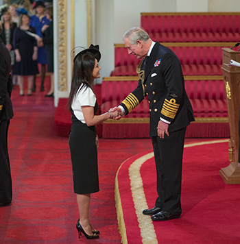 Kavita Oberoi Receiving OBE in the Queen's Birthday Honours List 2014
